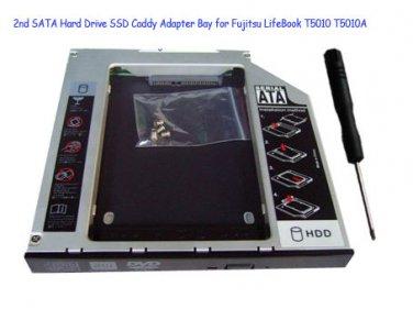 2nd SATA Hard Drive SSD Caddy Adapter Bay for Fujitsu LifeBook T5010 T5010A