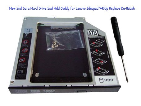 New 2nd Sata Hard Drive Ssd Hdd Caddy for Lenovo Ideapad Y410p Replace Du-8a5sh