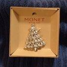 MONET Rhinestone Christmas Tree Brooch Pin Jewelry