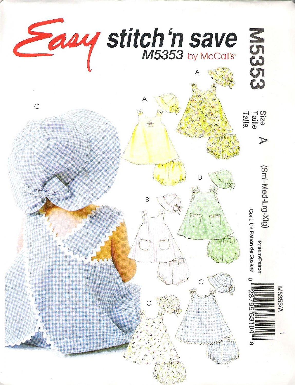 2007 McCalls 5353Pattern  Infants Sleeveless A-Line Dresses Panties & Hat Size SM-XLG  Uncut