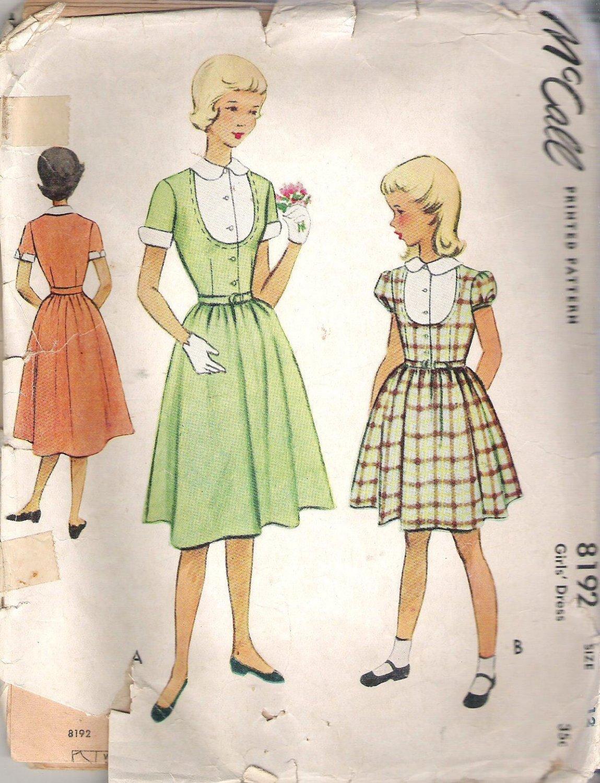 McCalls 8192 Pattern Vintage 50s Girls Dress Size 12 Cut