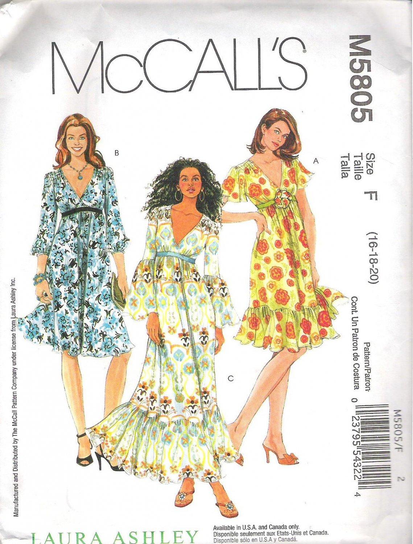 2009 McCalls 5805 Pattern Retro 60s Boho Gypsy Hippie Dress  16-20 Uncut