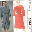 1983 McCalls 8814 Pattern Dress w/Pleats Back Buttoned to Waist Size 8 Cut