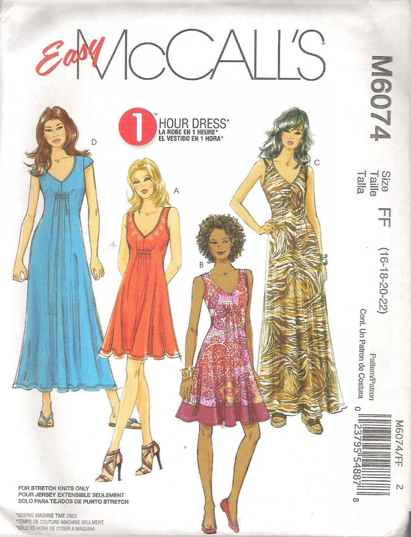 2010 McCalls 6074 Pattern 1 Hour Pullover Dress w/Front Elastic Casing Detail Size 16-22 Uncut