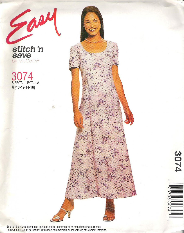 2001 McCalls 3074 Pattern Long Dress Princess Seams Short Sleeves Scoop Neck  10-16 Cut to 16