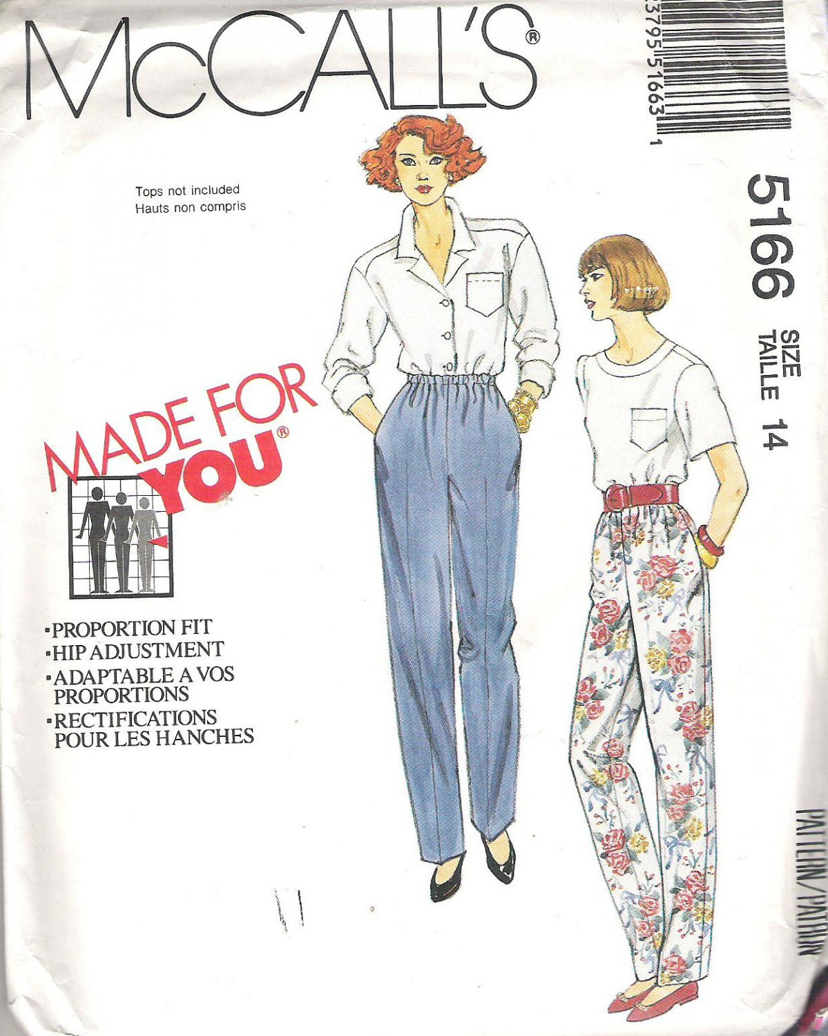 1991 McCalls 5166 Pattern Elastic Waist Pants Side Pockets Size 14 Partial Cut