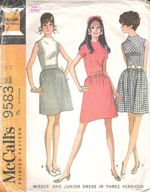 1968 McCalls 9583 Pattern Vintage Dress High Neck Gathered Waist Size 16 Part Cut