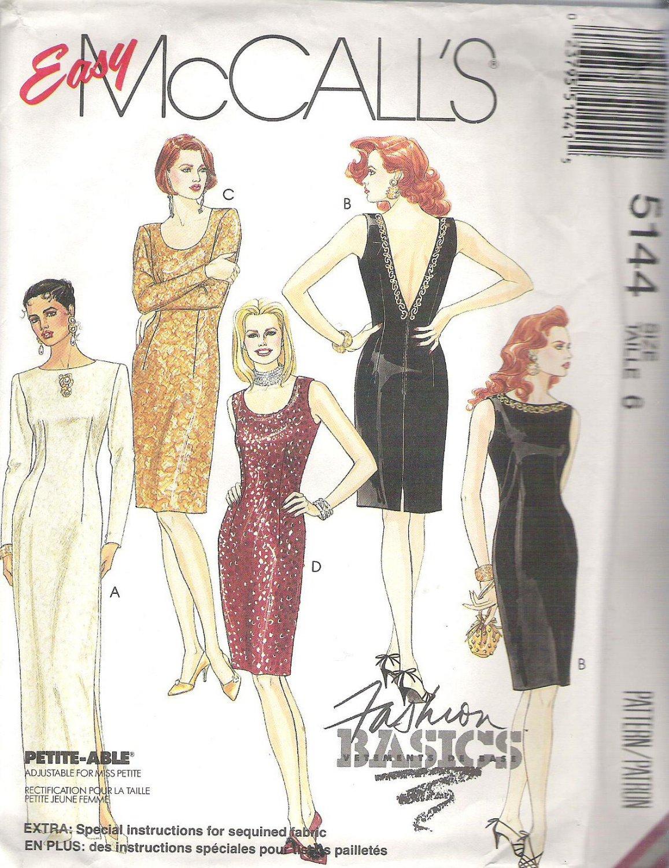 1990 McCalls 5144 Pattern Evening Dresses 2 Lengths Scoop or High Neckline V Back Size 6 Uncut