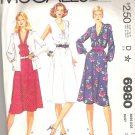 1980 McCalls 6980 Pattern Jacket and Dress V-neck Bias Tie Collar Elastic Waist Size 16 Cut