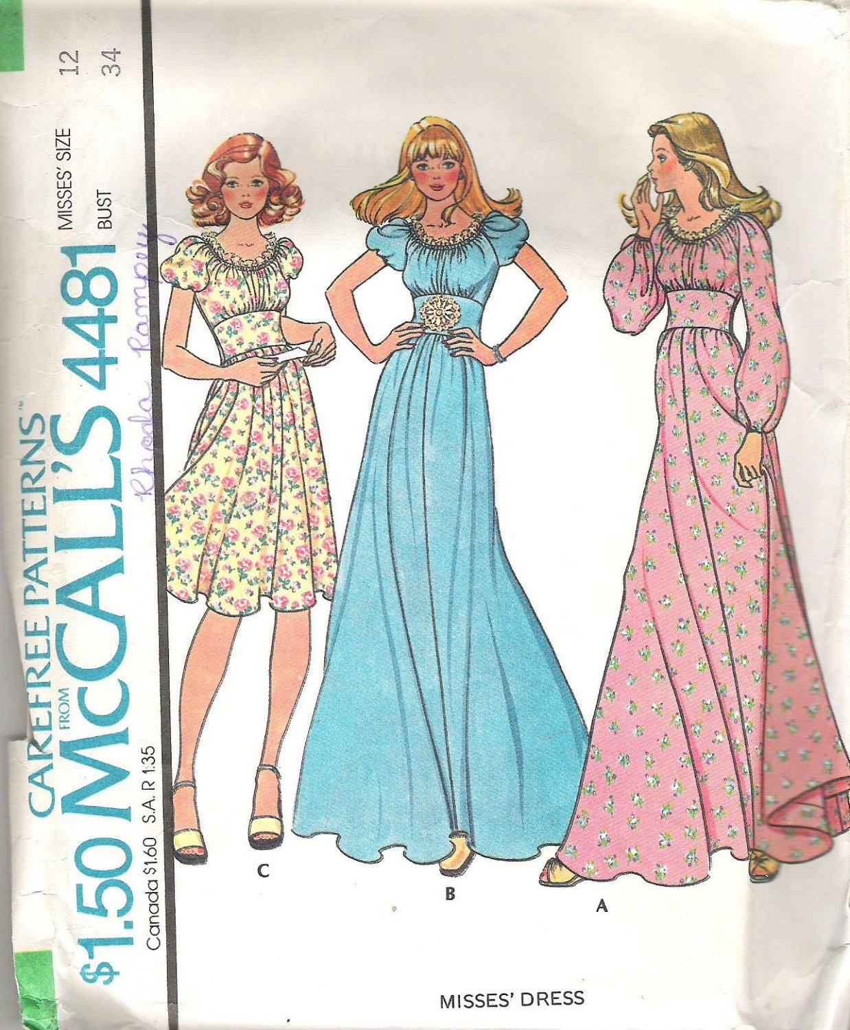 1975 McCalls 4481 Pattern Vintage 70s Long/Short Dress Peasant Neckline Midriff Band Size 12 Cut