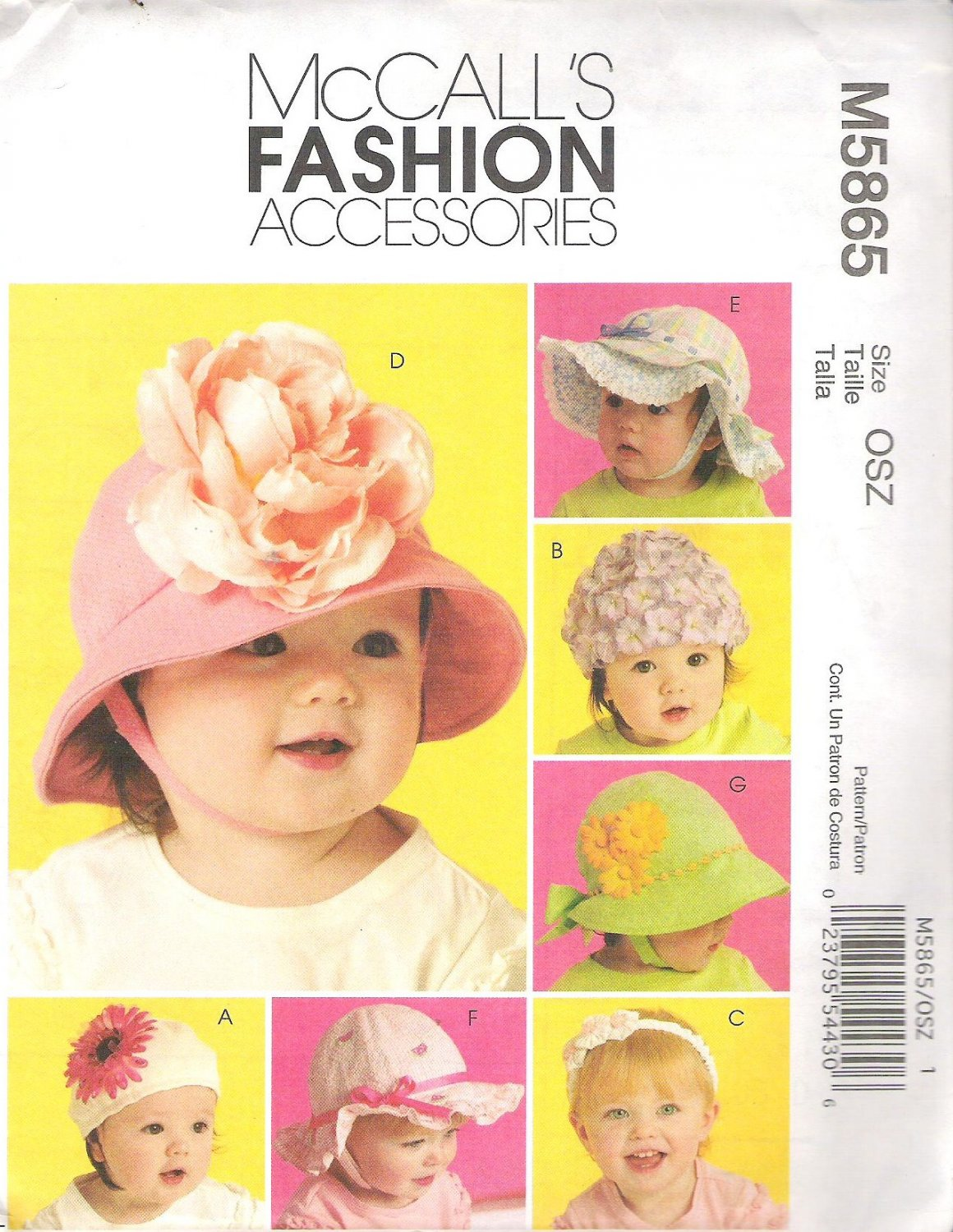 2009 McCalls 5865 Pattern Infant Toddler Hats XSmall - XLarge Uncut