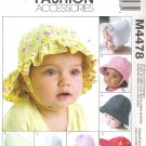 2004 McCalls 4478 Pattern Infant Hats Newborn - XLarge Uncut