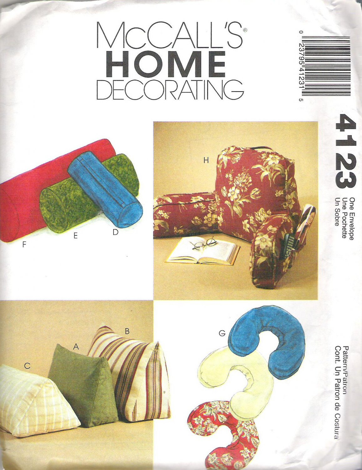 2003 McCalls 4123 Pattern Wedge Neck Bolster and Lounge Pillows  Uncut