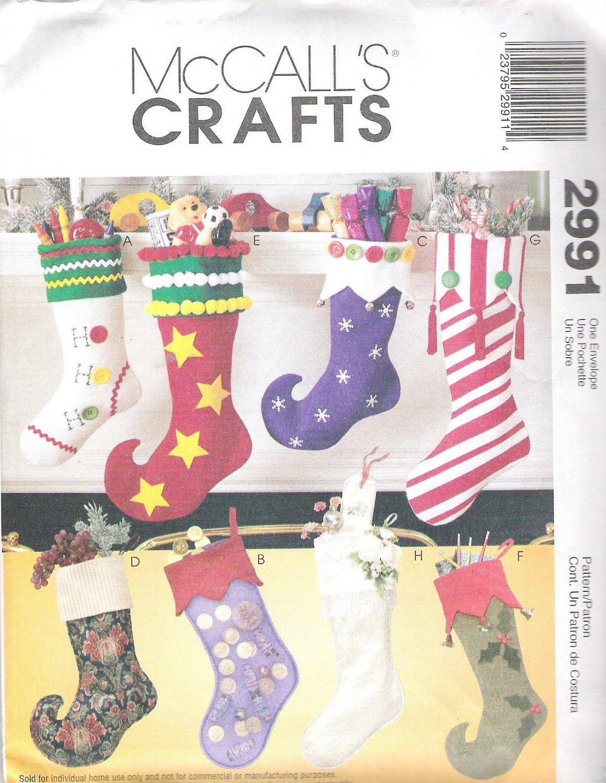 McCalls 2991 Pattern Christmas Stockings  Uncut