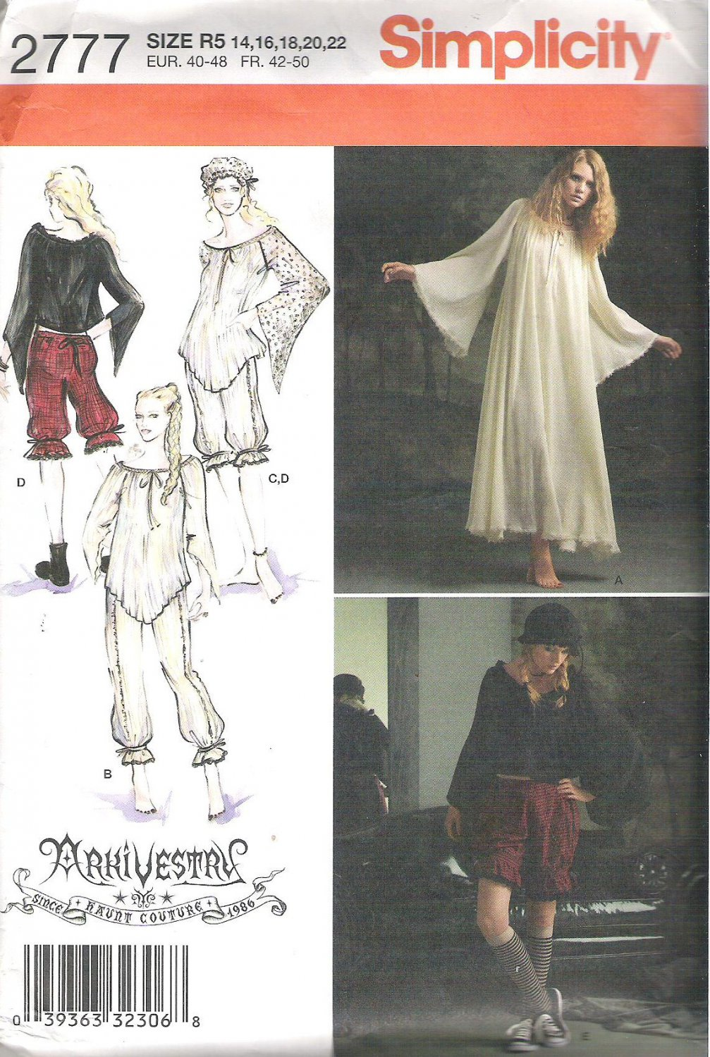 2008 Simplicity 2777 Pattern  Vintage Look Dress Top Bloomers Cap  Size 14-22  Top Cut to 22
