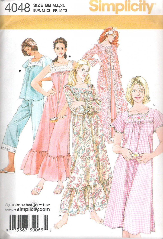 2006 Simplicity 4048 Pattern Nightgown, Pajamas, Robe, House Dress Size M-XL  Uncut