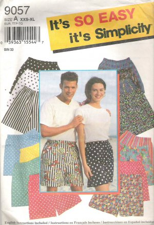 1994 Simplicity 9057 Pattern Mens Womens Teens Shorts Size XXS-XL Cut to L