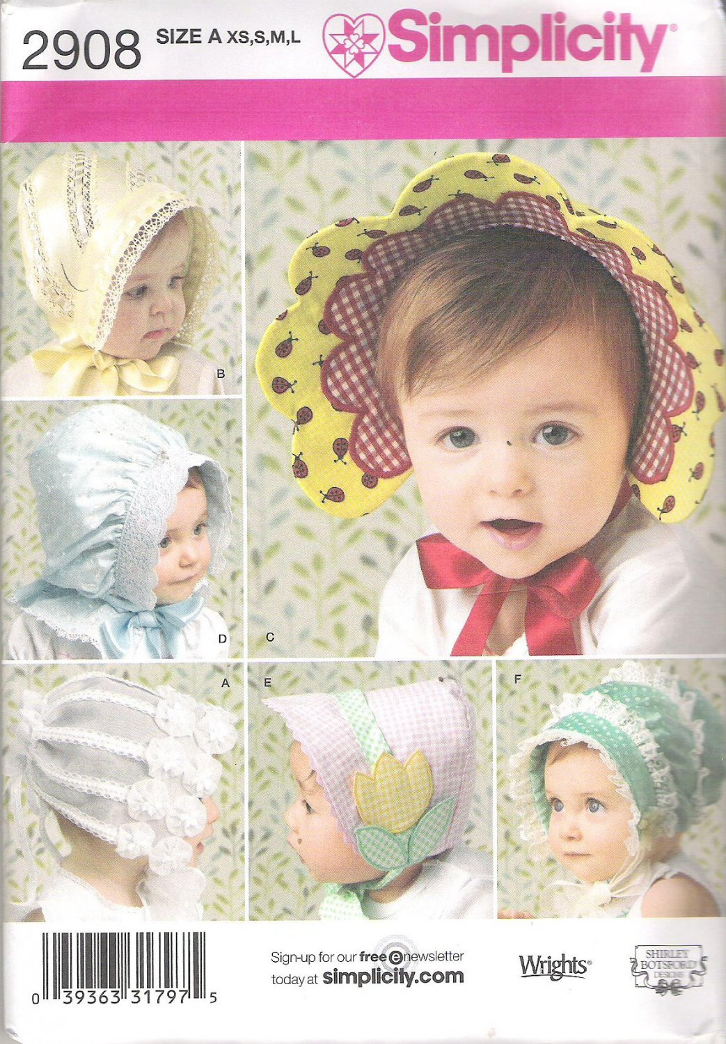 2008 Simplicity 2908 Pattern Babies Infants and Toddlers Hats 6 Styles XS-L Uncut