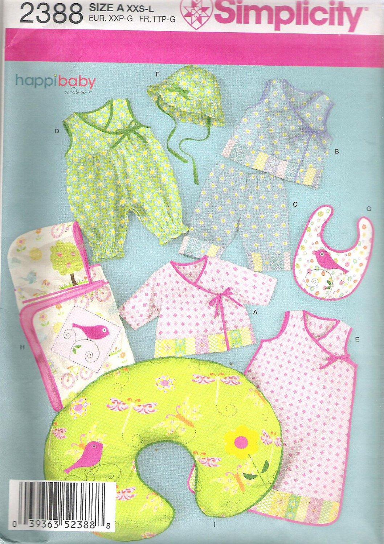 2010 Simplicity 2388 Pattern Baby Romper Pants Top Hood Towe, Bunting Ha, Bib Pillow XXS-L Uncut