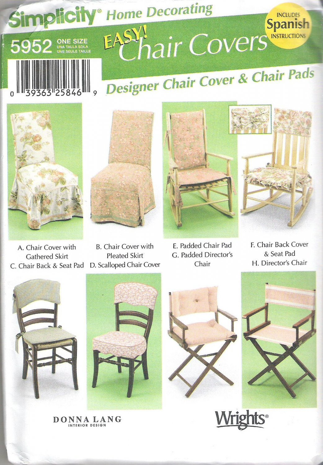 2002 Simplicity 5952 Pattern Easy Chair Covers includes Spanish Instructions  Uncut