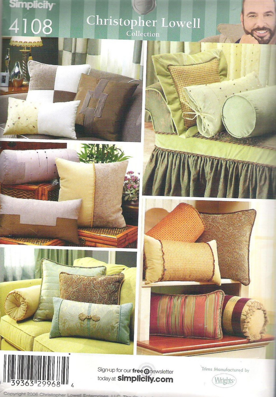 2006 Simplicity 4108 Pattern Square Rectange Bolster Quilted Pillows Uncut