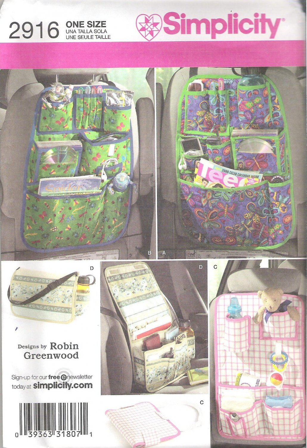 2008 Simplicity 2916 Pattern Over the Seat  Tote Car Organizers  Uncut