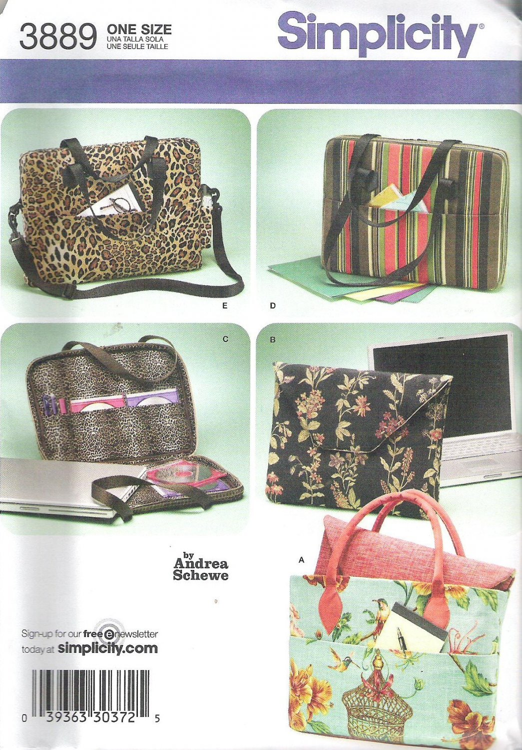 2007 Simplicity 3889 Pattern Laptop Computer Bags Tote Sleeve   Uncut