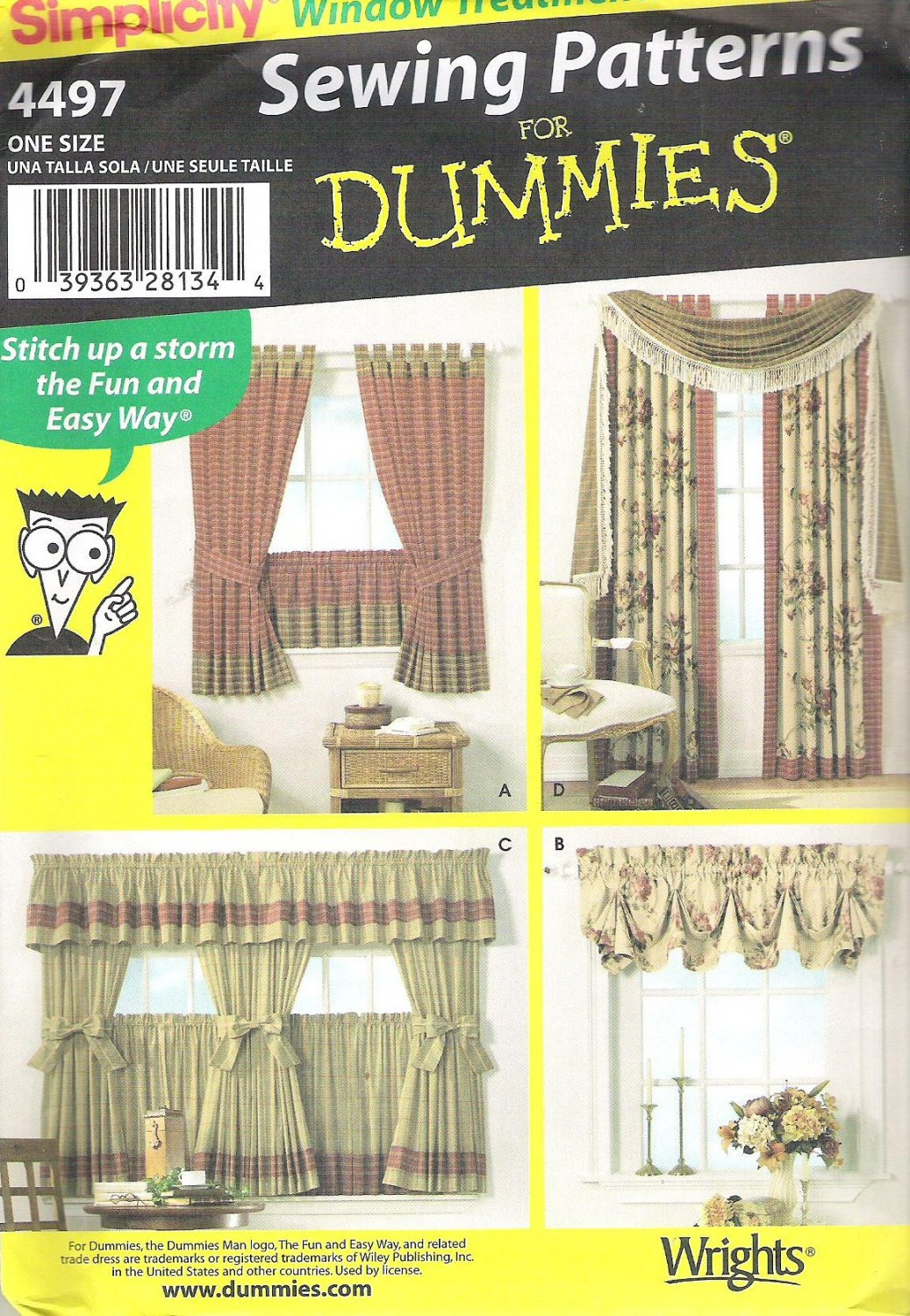 2005 Simplicity 4497 Pattern Window Treatments Curtains Drapes for Dummies  Uncut