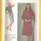 1980 Simplicity 9705 Pattern Slim-fitting Elastic Waist Horizontal Bodice Tucks Dress Size 14 Cut