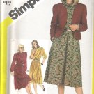 1982 Simplicity 5686 Pattern Pullover Dress and Lined Cardigan Jacket Adjust for Petite Size 14 Cut