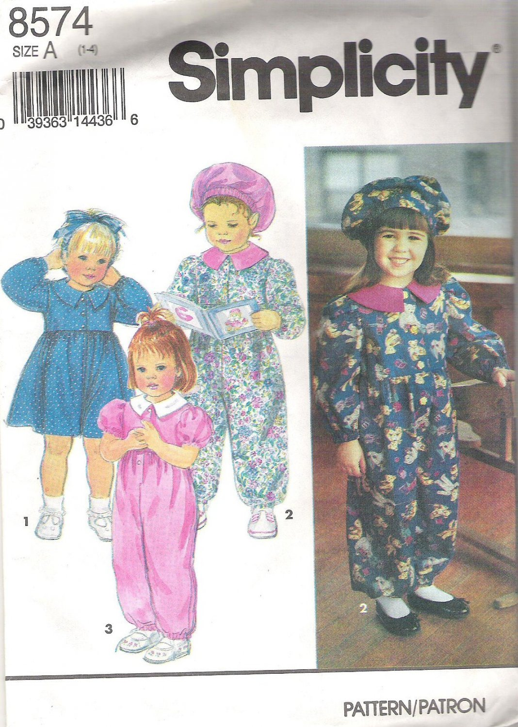 1993 Simplicity 8574 Pattern Toddler's Dress, Jumpsuit  Hat  Size 1-4   Cut to 4