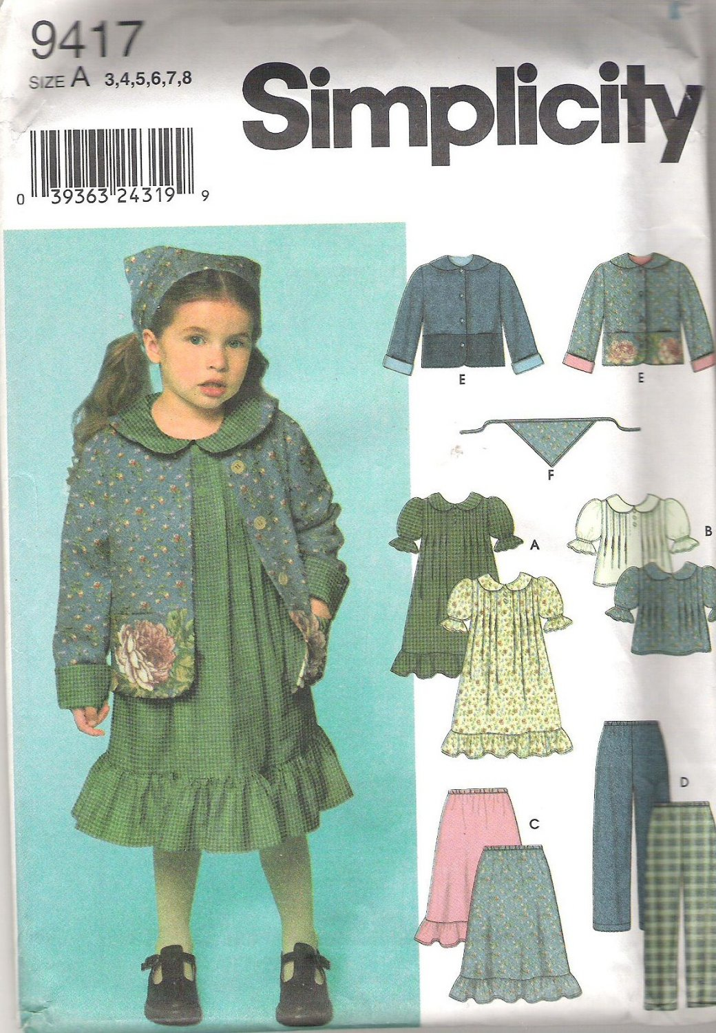 2000 Simplicity 9417 Pattern Girls Dress Top Skirt Pants Jacket, Scarf  Size 3-8  Part Cut to 8