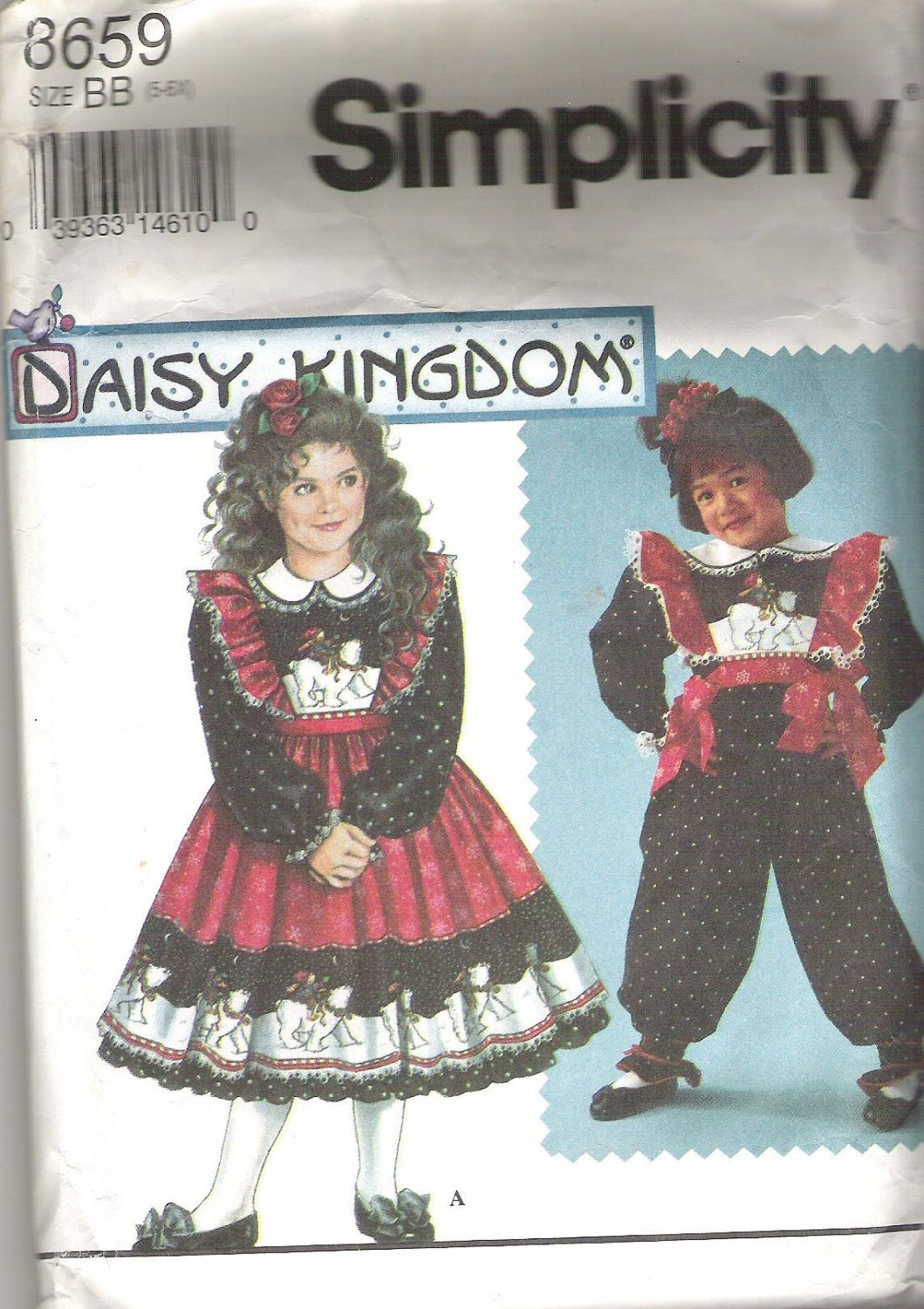 1993 Simplicity 8659 Pattern Girls Dress Pinafore Petticoat Jumpsuit Tabard  Size 5-6X  Cut to 6X