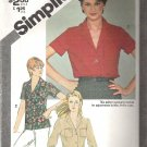 1980 Simplicity 9774 Pattern Front Button Shirt  Adj. for Petite Size 14  Cut