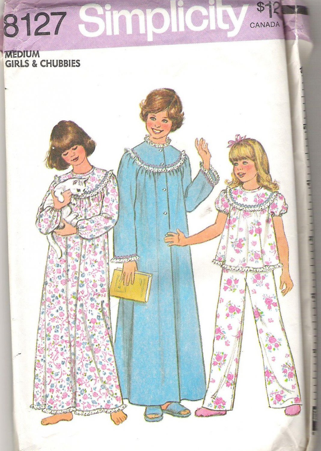 1977 Simplicity 8127 Pattern Girls and Chubbies Nightgown, Pajamas and Robe  Size M  Uncut