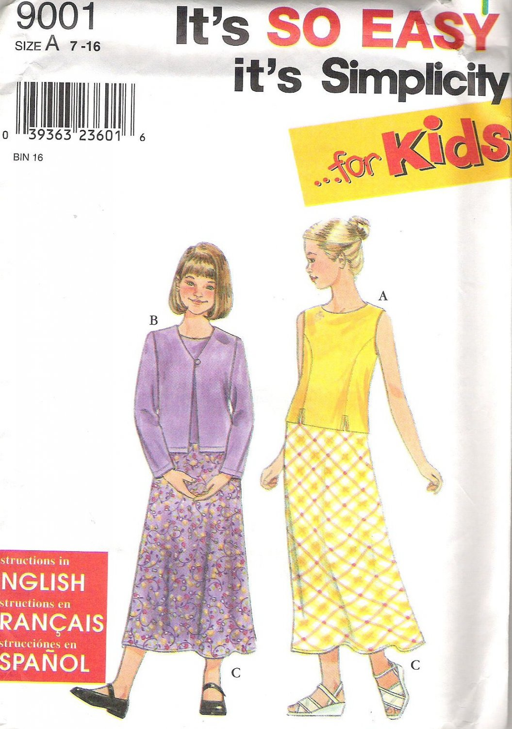 1999 Simplicity 9001Pattern Girls Top Jacket Skirt  Size 7, 8, 10, 12, 14,16  Uncut
