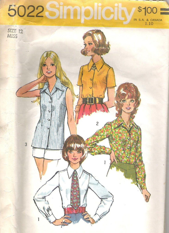 1972 Simplicity 5022 Pattern Blouse Shirt Top Tie  Size 12  Cut