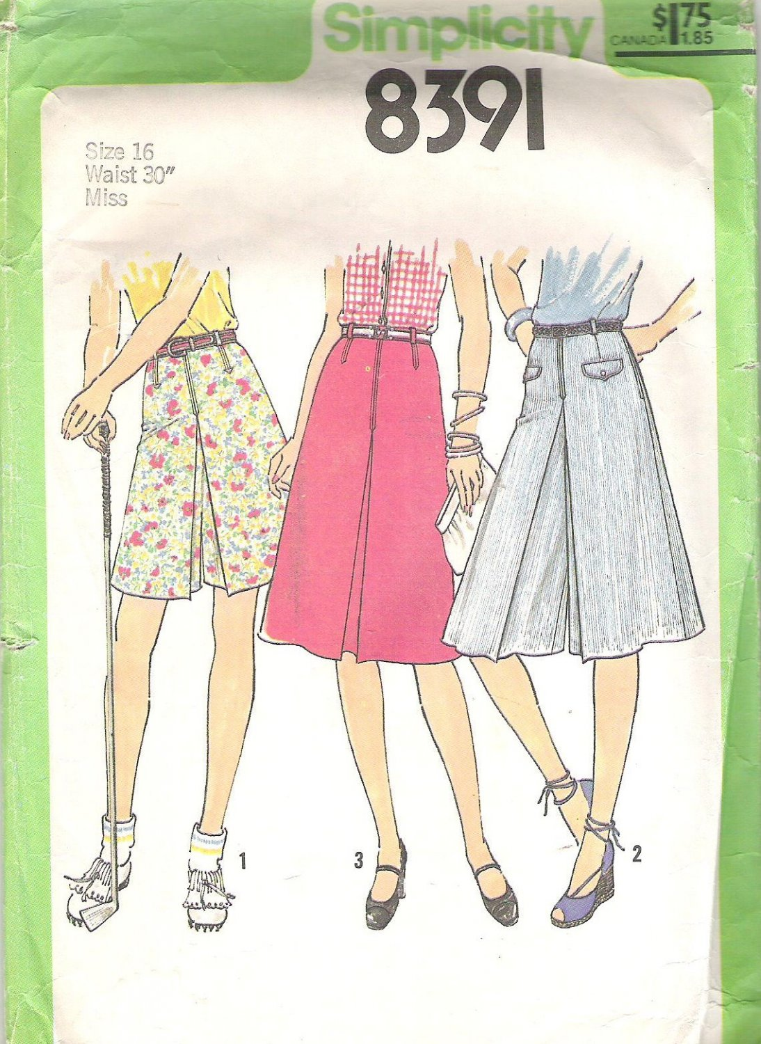 1978 Simplicity 8391 Pattern Vintage Skort Culottes in 2 Lenghts  and Skirt  Size 16  Cut