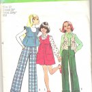 1973 Simplicity 5998 Pattern Vintage 1960s Girls Jumper Dress Pants Ruffle Vest  Size 12  Cut