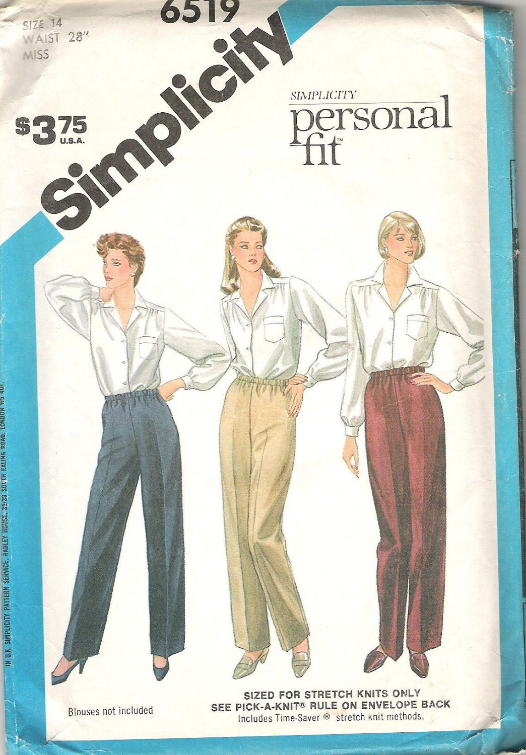 1984 Simplicity 6519 Pattern Personal Fit Pants for Short Average and Tall  Size 14  Uncut