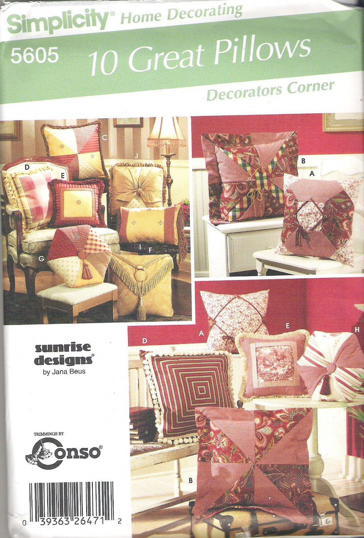 2005 Simplicity 5605 Pattern 10 Great Pillows Square, Rectange, Octagon  Uncut
