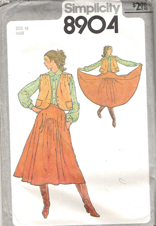 1979 Simplicity 8904 Pattern Vintage Western Look Skirt Unlined Jacket  Size 14 Part Cut