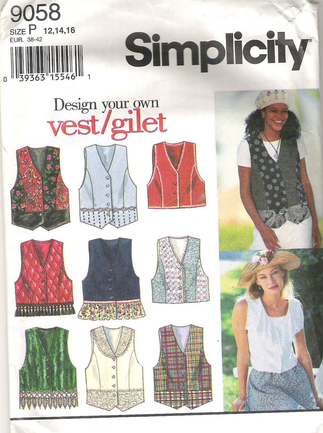 1994 Simplicity 9058 Pattern Design Your Own Vest  Size 12, 14, 16  Cut to 16