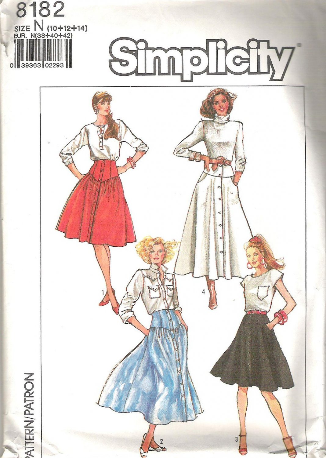 1987 Simplicity 8182 Pattern Button Front Skirt with Yoke and Pockets Size 10-14 Partial Cut