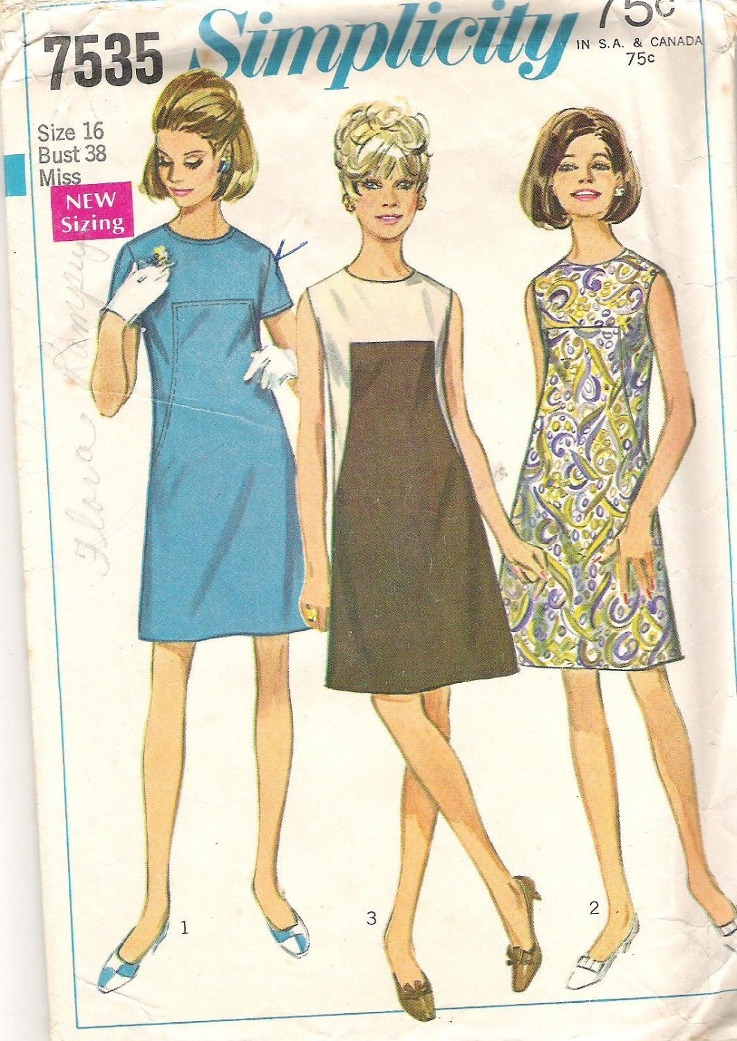 1968 Simplicity 7535 Pattern Vintage 1960s Jrs Misses A-Line Dress with Upper Contrast  Size16  Cut