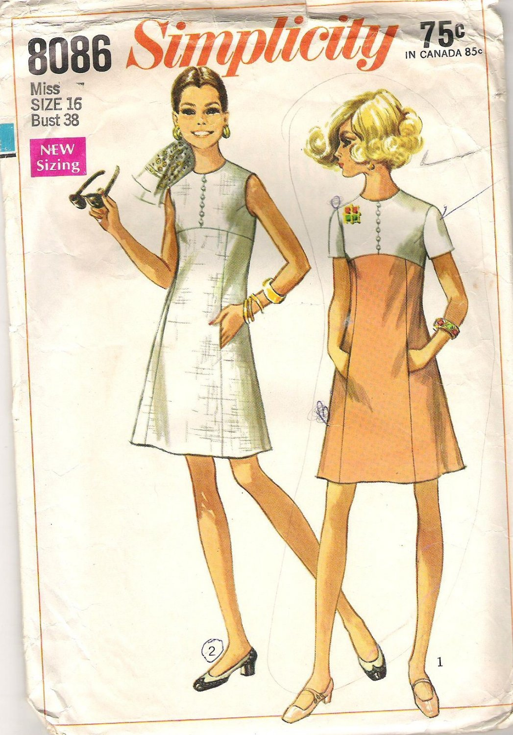 1969 Simplicity 8086 Pattern Vintage Dress Princess Line Skirt Button Trimmed Bodice  Size 16  Cut