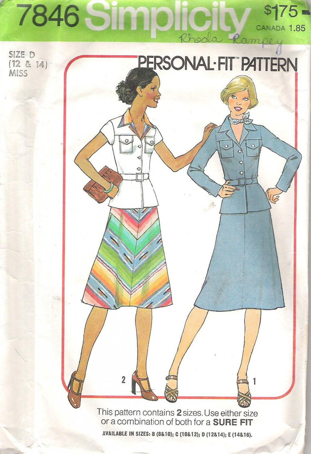 1976 Simplicity 7846 Pattern Vintage Skirt and Shirt Jacket Top  Size 12-14  Partial Cut
