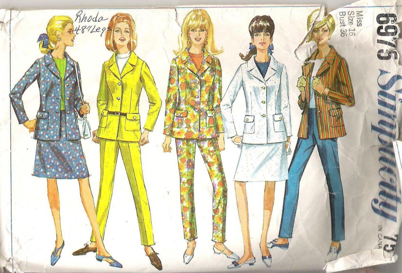 1967 Simplicity 6975 Pattern Jrs and Misses  Vintage Jacket Hip-Hugger Pants Skirt  Size 16  Cut