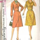 1965 Simplicity 6194 Pattern Vntage 1 Piece Dress Button or Concealed Zipper Front Close Size18  Cut