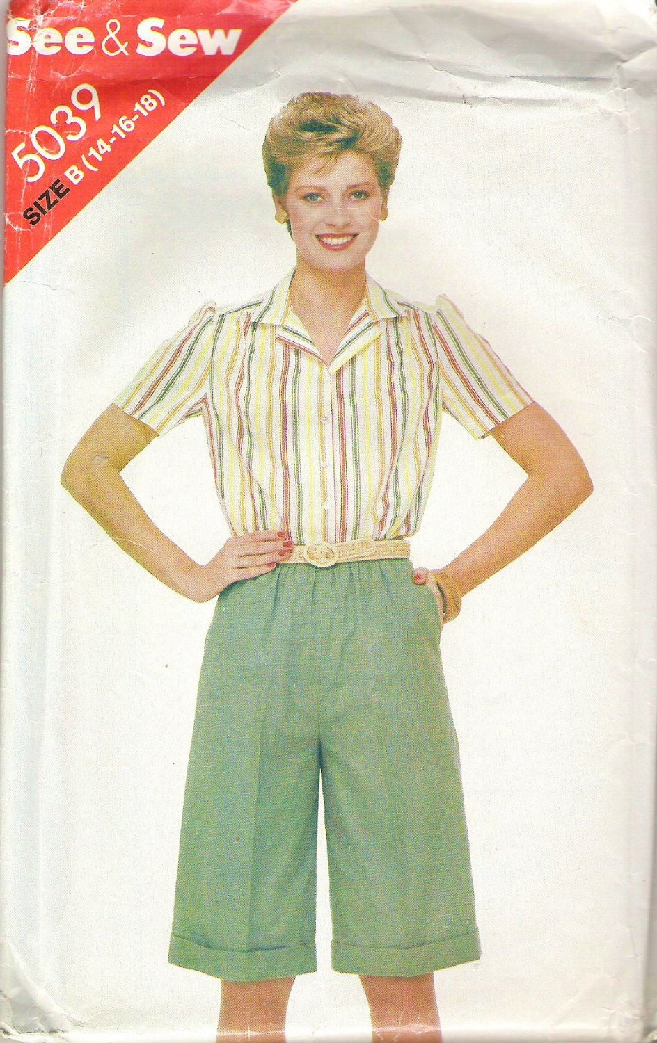 Butterick 5039 Pattern Shirt Blouse Top and Knee Lenght Shorts  Size 14-18  Cut to 18